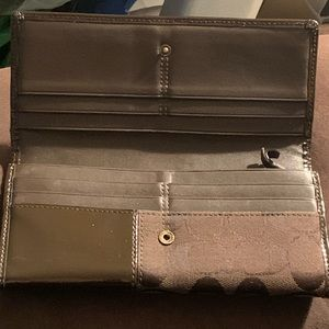 COACH brand long brown mixed media wallet!